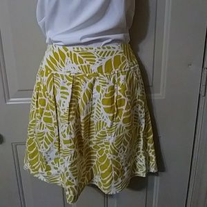 Ann Taylor Loft drop waist skirt yellow white 12